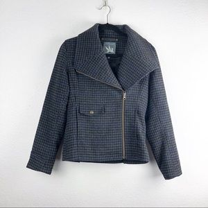 I Spiewak & Sons Houndstooth Wool Moto Jacket
